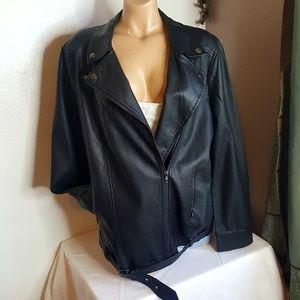 Just fab black faux leather biker jacket size L